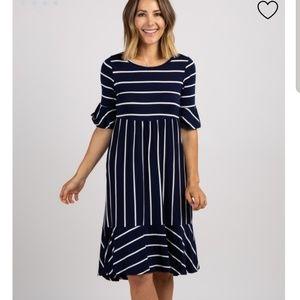 Navy+white maternity dress